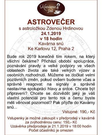 ASTROVEČER s astroložkou Zdenou Hrdinovou